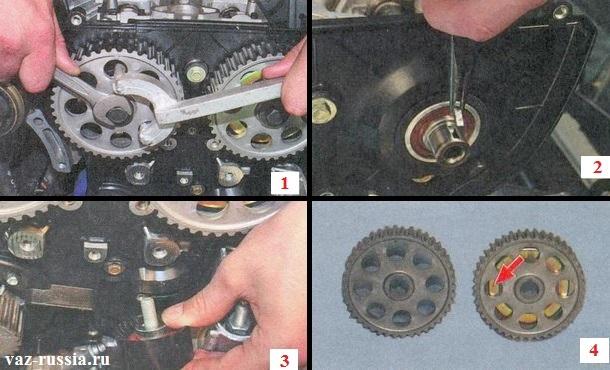 Снятие шкивов с распределительных валов и снятие опорного ролика с двигателя автомобиля