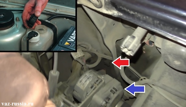 Выворачивание сливкой пробки радиатора и сливание ОЖ с радиатора