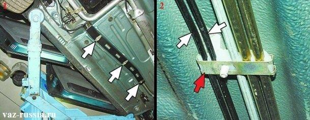 Выворачивание болтов крепления защиты тормозных трубок, снятие её, снятие пластин и снятие самих трубок