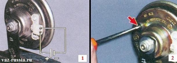 Зажимание звукового сигнала в тиски и подача на него напряжения и дальнейшая его регулировка