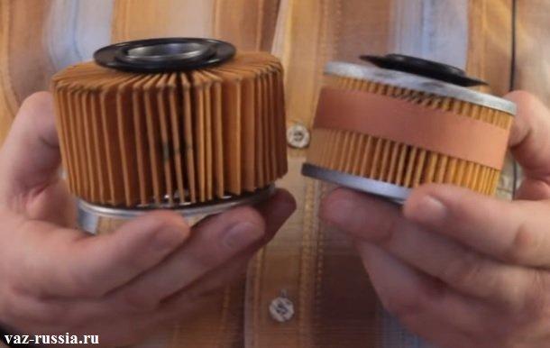 Разрезанный корпус у масляных фильтров