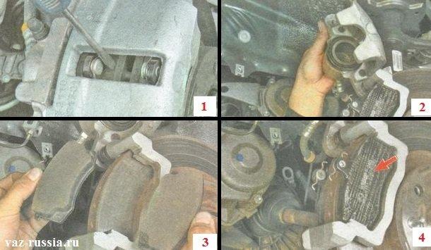 Осуществление снятия тормозных колодок и установка новых