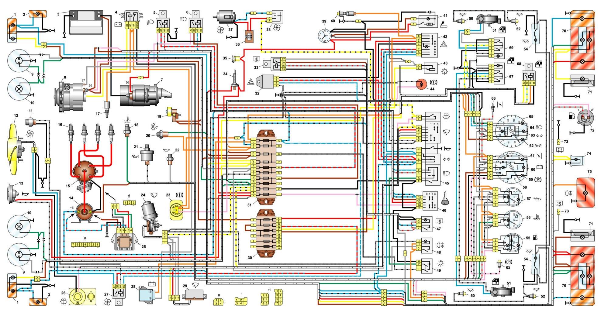 Полный вид схемы оборудования и проводки ВАЗ-2106