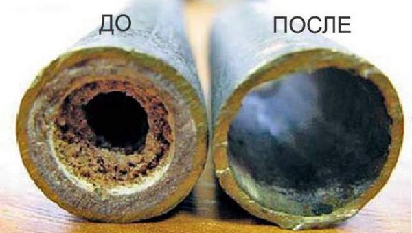 Трубки до и после промывки радиатора