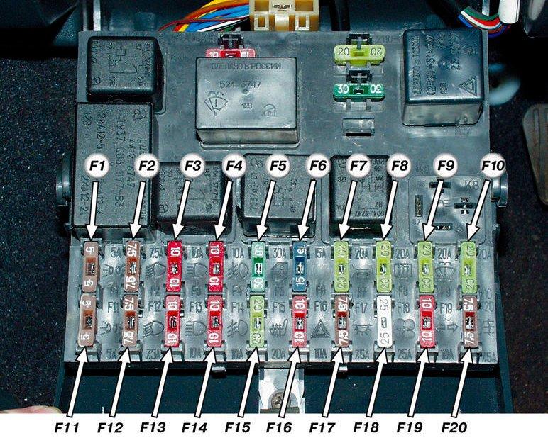 Схема с обозначениями второго комплекта предохранителей в блоке