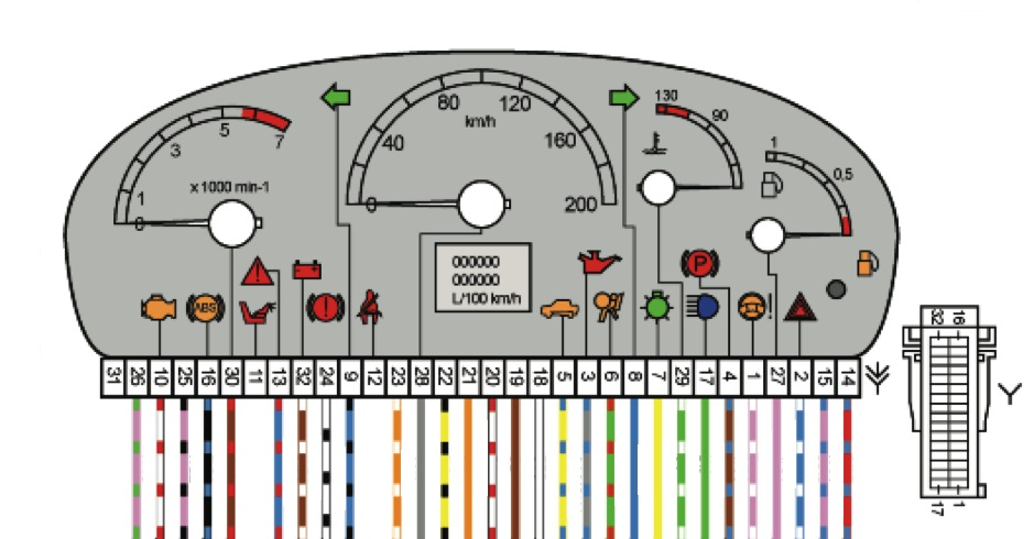 Схема и распиновка щитка ВАЗ-2170