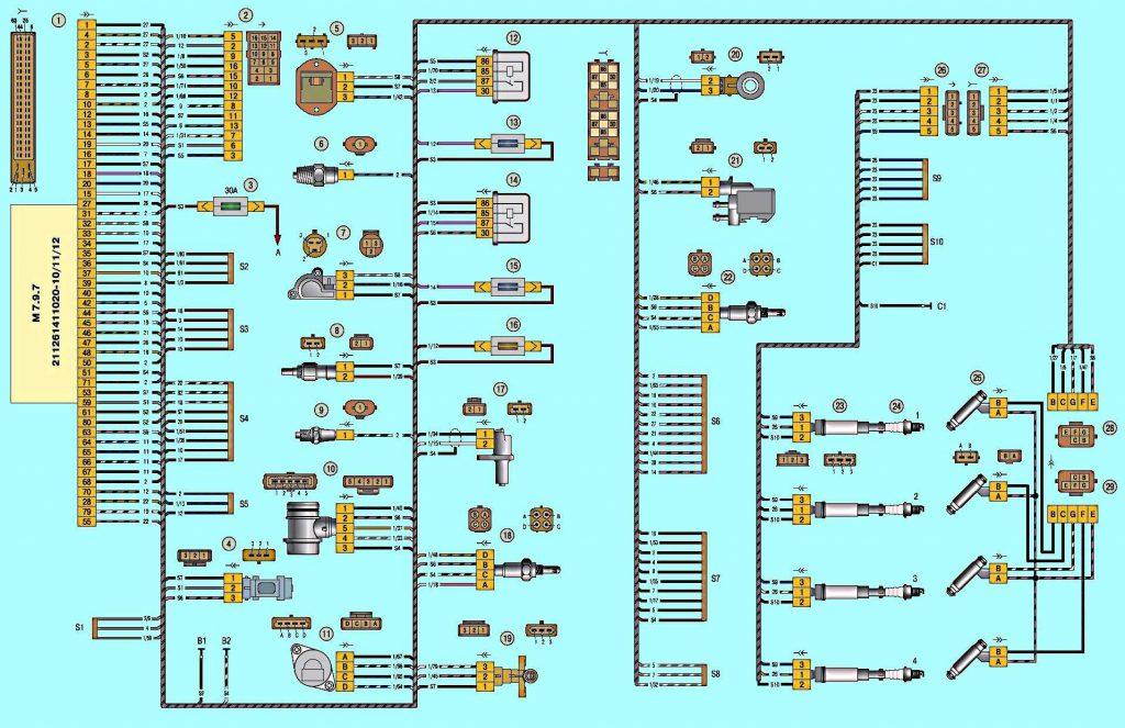 Схема подключения жгута ЭСУД ВАЗ 2170
