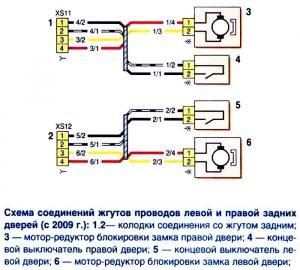 Электрическая схема задних дверей