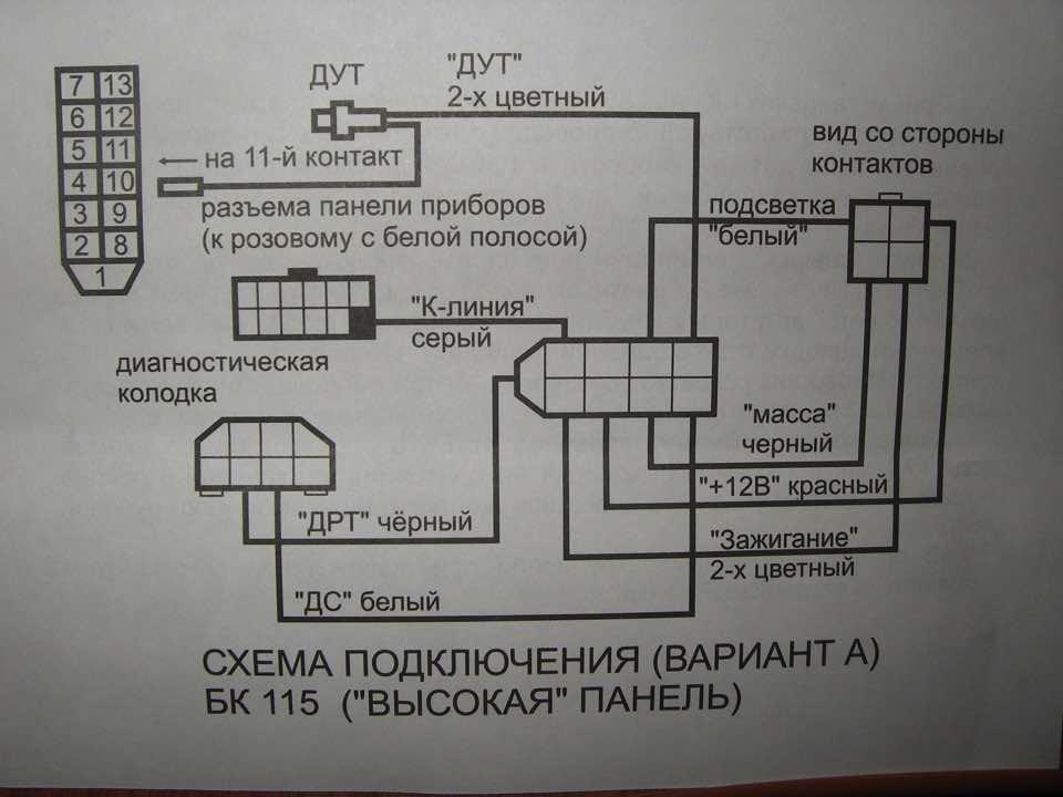 Распиновка БК Ваз 2114