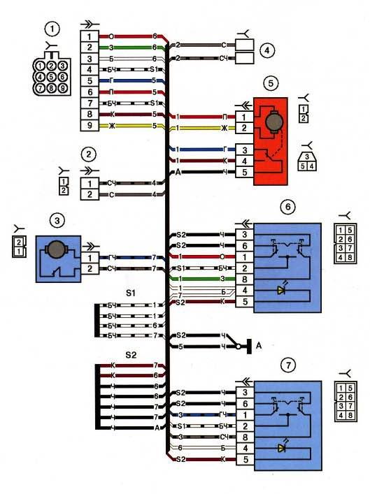 Схема водительской двери