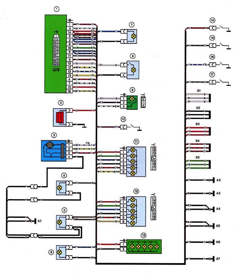 Схема заднего жгута ВАЗ 2114
